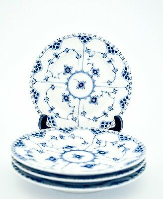 4 Plates #1086 - Blue Fluted - Royal Copenhagen - Full Lace - 1:st Quality