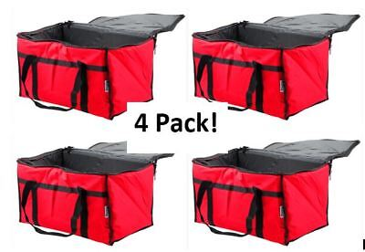 "4 Pack Insulated Food Delivery Bag / Pan Carrier, Red Nylon, 23"" x 13"" x 15"""