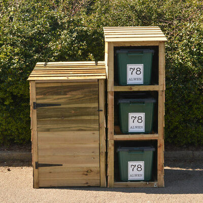 Storage for wheelie bin and 3 recycling bins with 4 FREE personalised labels