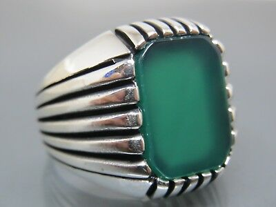 Turkish Handmade Jewelry 925 Sterling Silver Agate Stone Men's Ring Sz 9,5