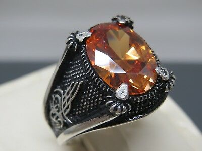 Turkish Handmade Jewelry 925 Sterling Silver Quartz Stone Men's Ring Sz 9