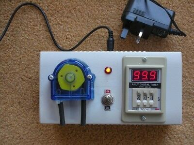PERISTALTIC  PUMP TIMER - DISPENSE FIXED VOLUMES- 130 ml/min - 0-99 sec.  12v DC