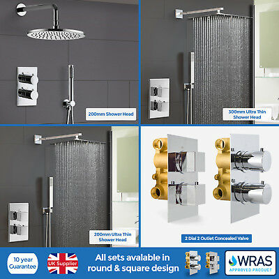 Square Round 2 Dial 2 Way Concealed Thermostatic Shower Head Mixer Valve Set
