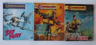 LOT 3 x COMMANDO War Stories In Pictures Vintage War Comics