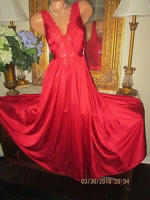 Vtg OLGA long flowing nightgown ruby red gown dress lingerie 92280 M-L gorgeous