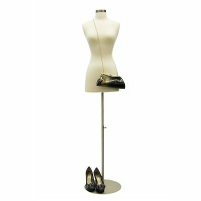 Female Body Form/Dress Form (Size 2-4, Off White) + Round Metal Base & Neck Cap