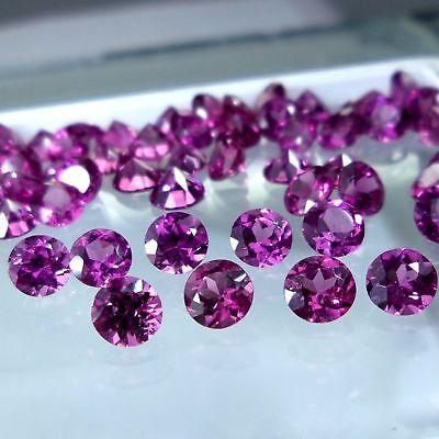 "Top Class 100% Natural ""pink Rhodolite"" 2 Mm Celebrated Gemstone Lot 20 Pcs"