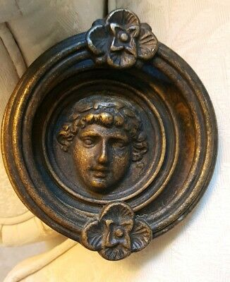 VTG Large Heavy Solid Brass Woman's Face Door Knocker xtra deep posts