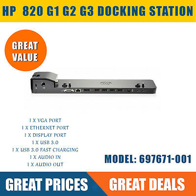 HP EliteBook 820 G1 G2 G3 UltraSlim 2013 Docking Station Port