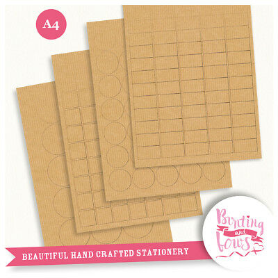 A4 Labels Kraft Brown Craft Paper, 50-100 Sheets for Laser and Inkjet Printers