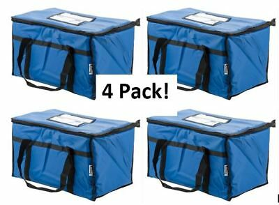 "4 Pack Insulated Food Delivery Bag / Pan Carrier, Blue Nylon, 23"" x 13"" x 15"""