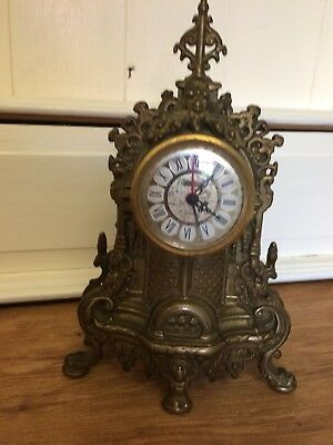 Vintage German Brass Mantel Clock