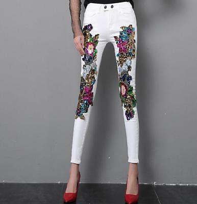 b42b66ba17c Womens Pants Sequins Trousers Stretchy White Clubwear Formal New Slim Fit  New