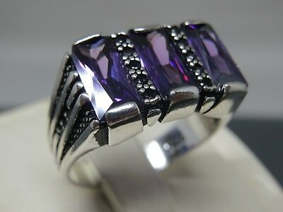 Turkish Handmade Jewelry 925 Sterling Silver Amethyst Stone Men's Ring Sz 10