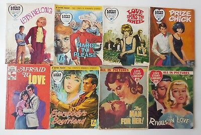 LOT 8 x 1950s / 60s LOVE STORY Comics Love Story Library / Picture Romances