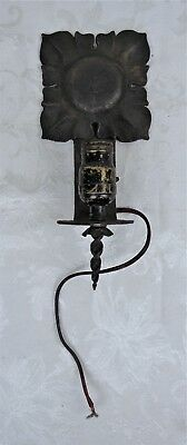 Antique Arts and Crafts Period Wrought Iron Wall Sconce Electric Light Fixture