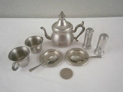 9 Vintage Pewter Small Miniature Tea Pot, Cups, Dishes, Spoons, Salt  & Pepper