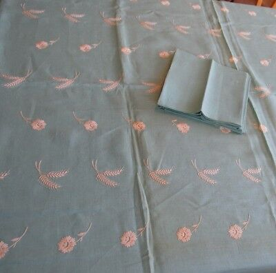 Pure Linen Tablecloth & 6 Napkins Turquoise & White Embroidered Floral Wheat