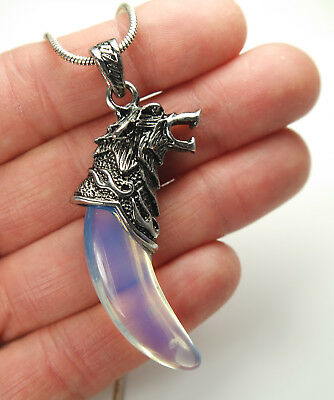 Celtic Wolf with Large Opalite Tusk/Tooth Pendant Necklace, Intuition, Dreams Mu