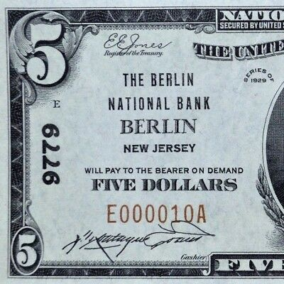1929 $5 National Bank Note ✪ The Berlin National Bank ✪ Nj 9779 Unc ◢Trusted◣