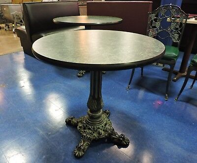 "Green Round Top Restaurant Table with Vintage Cast Iron Base - 30"" diameter"