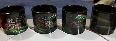 """Vintage """"laquerware Hand Painted Set Of Four Napkin Rings"""""""