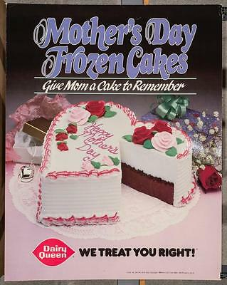 Vintage Dairy Queen Promotional Poster Mother's Day Frozen Cakes 1988 dq2