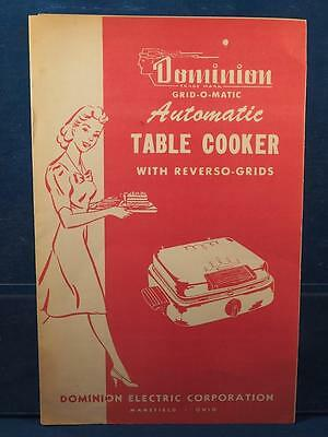 Vintage Dominion Grid-o-matic Automatic Table Cooker Manual