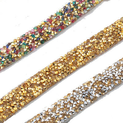 1M Crystal Rhinestone Ribbon Glitter Diamante Trims Sewing Decor Iron Sew On DIY