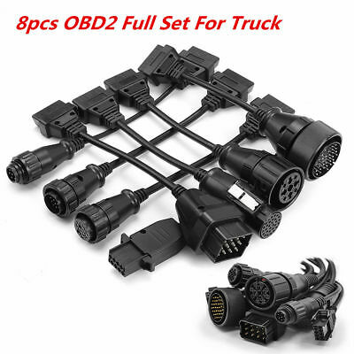 8 PCS OBD2 Full Set Truck Wire Cable Diagnostic Tool OBD Adapter Cable Wire Cord