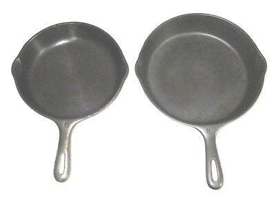"Vintage Pair Unmarked Wagner ""matching Style"" Cast Iron Skillet Set - #6 And #8"