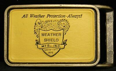 HG29119 VINTAGE 1970s ***WEATHER SHIELD MFG*** BRASS & LEATHER BUCKLE