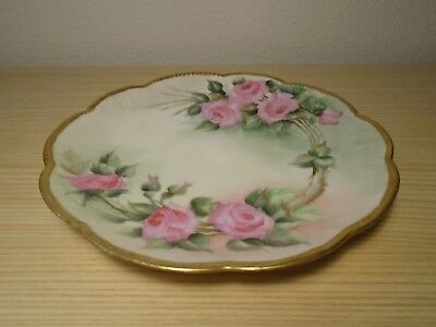 "Antique Hand-Painted Limoges Gilded Marked Klingenberg 9-1/2"" Dish/shallow Bowl"