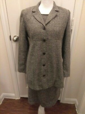 Motherhood maternity Size Small suit dress jacket set tweed look grey