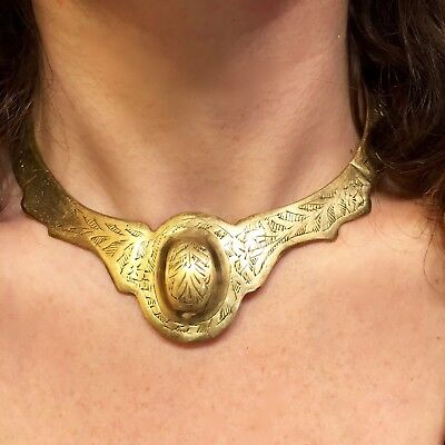 Vintage/Antique Ethnic Tribal Brass or Bronze Choker Collar / Bib Necklace