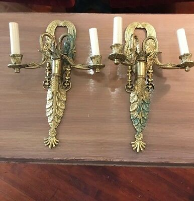 Pair of French Gilt Bronze/Metal Double Arm Swan Wall Sconce