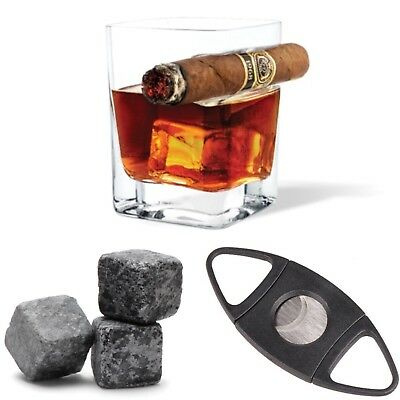 Catador Whiskey Glass With Cigar Holder Includes Cigar Cutter & 3 Whiskey Stones