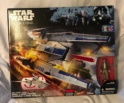 New Hasbro Star Wars Rogue One Rebel U-Wing Fighter & Figure, Fires Nerf Darts!