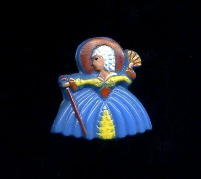 Vintage Button...Glass Realistic..Adorable Full Body Colonial Woman