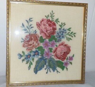 "GORGEOUS VINTAGE FLORAL ROSES PETIT POINT BEHIND GLASS IN GILT 12"" by 12"" FRAME"
