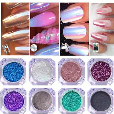 Unicorn CHROME POWDER Mirror AURORA Nail Art Colours ROSE GOLD Pearl Silver RED