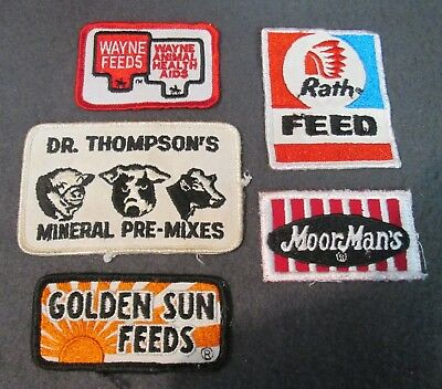 Lot Of 5 - Feed Patches - Golden Sun - Moorman's - Wayne - Rath - Dr. Thompson's