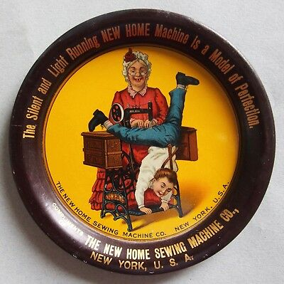 """A Rare One! English Version """"new Home Sewing Machine"""" Advertising Tip Tray"""