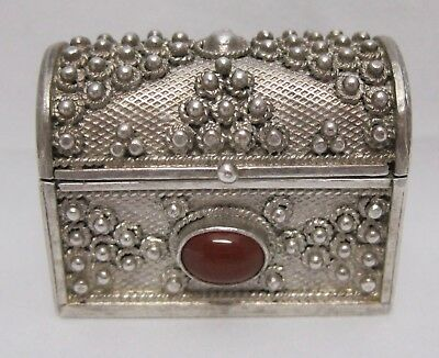 Sterling Silver Chest 925 Snuff Pill Trinket Box