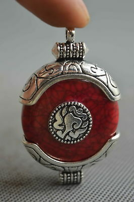 Collection Handwork Decor Turquoise Armor Miao Silver Carve Character Pendant