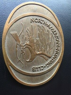 PL17115 VINTAGE 1980s **NORTH AMERICAN HUNTING CLUB** COMMEMORATIVE BELT BUCKLE