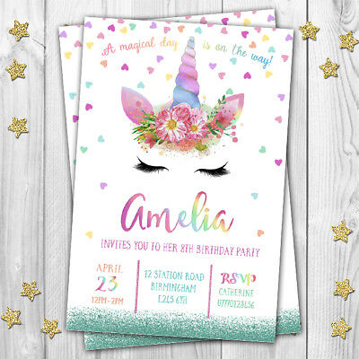 Unicorn invitations cards birthday party invites kids girls pink unicorn invitations cards birthday party invites kids girls pink personalised stopboris Image collections