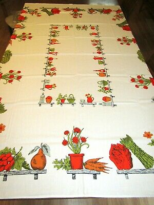 Vegetables flowers Vases Tablecloth NOS Vintage Penney's Fashion Manor 52x70