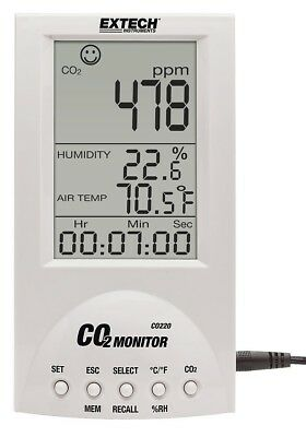 EXTECH Desktop Carbon Dioxide Monitor, CO220 Air Quality CO2 Monitor - NEW