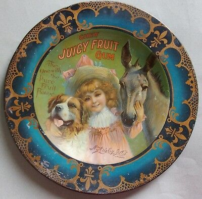 "Very Rare Early ""juicy Fruit"" Gum Advertising Tray, Not Tip, Beautiful Graphic"